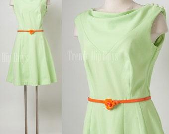 Vintage mint green dress, 60s dress, Mod dress, mad men dress, aline dress - M/L