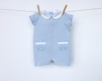 Baby boy linen romper Linen romper Peter Pan collar romper Baby boy clothes 1st birthday suit Baby Summer suit Anchor print