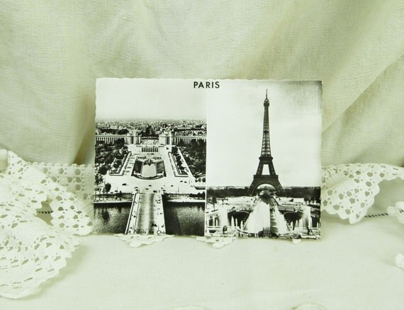 Vintage Unused Mid Century French Black and White Postcard, Eiffel Tower, 1960s Parisian Vacation Souvenir Decor, Holiday in Paris France
