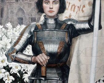 Spectacular JOAN of Arc! Digital Download. Digital Vintage Illustration.  Digital Vintage Joan Of Arc Printable Image.