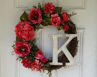Hydrangea Wreath, Monogram Wreath, Summer Wreath, Front Door Wreath, Pink Hydrangea Peony Wreath, Mothers Day Gift, Rustic, Shabby Chic
