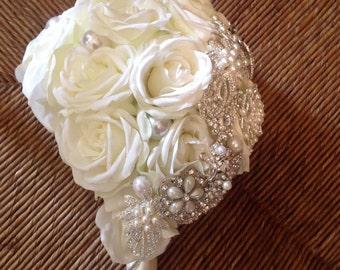 DEPOSIT | Custom Teardrop Rose & Brooch Bouquet | Brooch Bouquet | Silk Wedding Bouquet