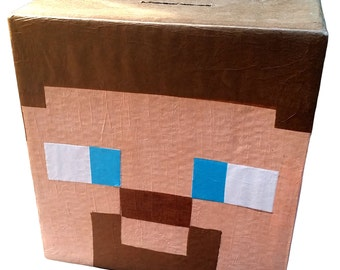 Steve Minecraft Player Pinata | Minecraft Party Supplies | Fun Birthday Party Game | Custom Pinata | Steve Head Pinata | Party Decor