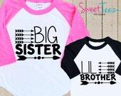 Arrow BIG Sister Little Brother shirt SET hip Tribal Arrows Shirt Raglan 3/4th Sleeve Shirt Toddler Youth
