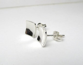Silver Square Earrings, Silver Studs, Silver Geometric Earrings, 8mm Sterling Silver Square Studs