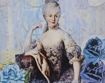 Marie Antoinette Collage on Canvas. Marie Antoinette Painting. Queen Mixed Media Painting. Blue.