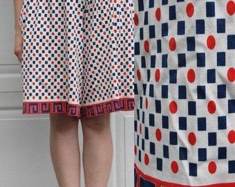 1970s red and blue geometric shapes skort, split skirt, gaucho shorts, small/medium