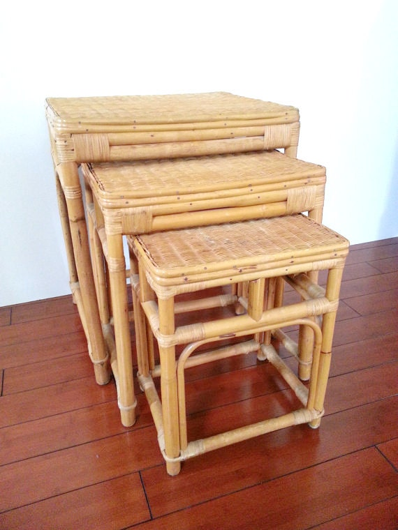 Rattan Nesting Tables ~ Set of three nesting tables bamboo rattan regency