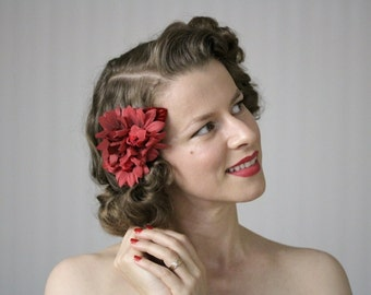 "Red Flower Hair Accessory, 1940s Floral Headpiece, Crimson Fascinator, Vintage Velvet Hair Clip - ""Of Rouge & Whispers"""