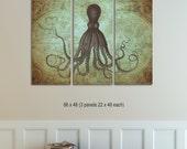 Octopus Triptych, Vintage World Map Canvas, Octopus on Map Print, Octopus Art, Nautical Decor, Retro Art, Kraken Art