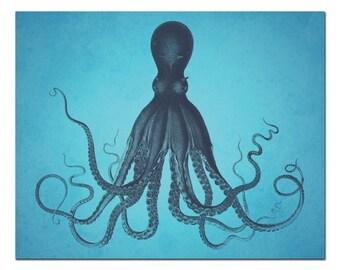 Octopus Print, Octopus Wall Art, Beach Home Decor, Coastal Art Print, Poster, Giant Kraken Print, Octopus Art, Kraken Art, Nautical Wall Art