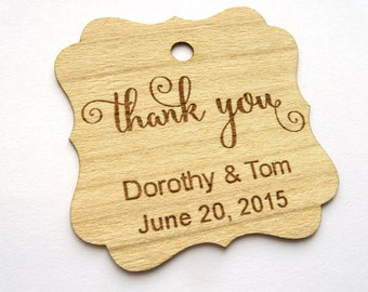Thank You Wedding Tags , Gift Tags, Wedding Favour Tags, Wood Tags, Shower Favor Tags, Wood Hang Tags, Personalised tags, Wood Labels