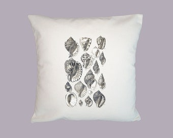Beautiful Seashells Collage Vintage Illustration HANDMADE 16x16 Pillow Cover - Choice of Fabric