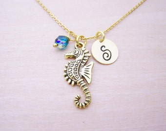 Seahorse Necklace - Gold Initial Necklace - Birthstone Necklace - Gold Initial Necklace - Personalized Necklace - Beach Necklace