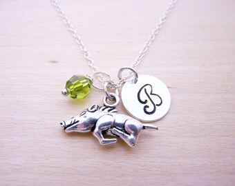 Warthog Charm Necklace -  Swarovski Birthstone Initial Personalized Sterling Silver Necklace / Gift for Her - Warthog Charm