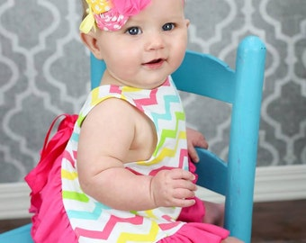 Pink and Yellow Flower Headband, Baby Headband, Rosette Headband, Summer Headband, Photography Prop