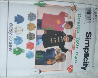 Simplicity 9303 Childs Jacket Sewing Pattern - Size 3 4 5 6  - UNCUT