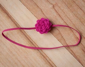 Hot Pink Headband, Hot Pink Newborn Headbands, Baby GIrl Headbands, Baby Flower Headband,  Baby Headbands, Photography Prop