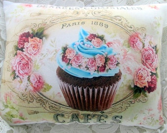 FRENCH Blue CUPCAKE Pillow, French Script, Pink Roses, Shabby Cupcake Pillow