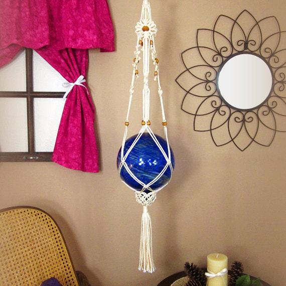 Gazing Ball Holder 8 Inch Glass Globe Macrame Daisy Chain