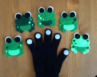 5 Green & Speckled Frogs Glove Set