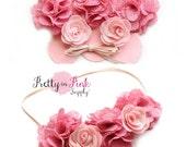 Pink Burlap Flower Crown DIY Headband Kit #97-Baby Headband,Baby Shower,Shabby Flowers-Headband Kit-Girls Flower Crown