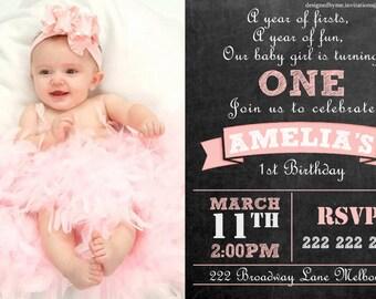 Baby Girl Chalk Board Personalised 1st Birthday Invitation - DIY Printing - JPEG File
