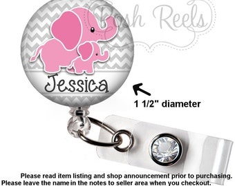 Retractable Badge Holder - Adorable Elephant Badge Reel, Stethoscope Tag, Lanyard or Carabiner - NICU Badge Holder - 1184