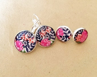 Vibrant Navy and Pink Floral Resin Earrings