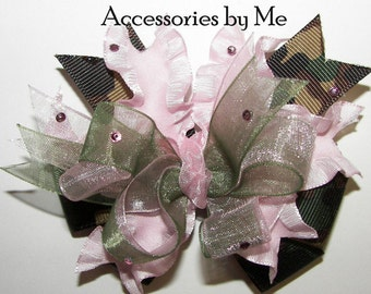 Glitzy Camouflage Hair Bow Green Camo Pink Ruffle Ribbon Embellished Girls Baby Toddler Accessory Recital Pageant Wedding Party Boutique M2M