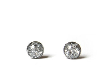 Tiny stud earrings in chunky silver glitter, sparkly studs - hypoallergenic surgical steel stud earrings - 4mm Teeny tiny earrings
