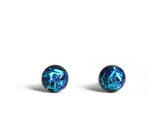 Aqua blue Holographic stud earrings 4mm Teeny tiny stud earrings in turqoise blue holographic glitter bar flitter confetti glitter