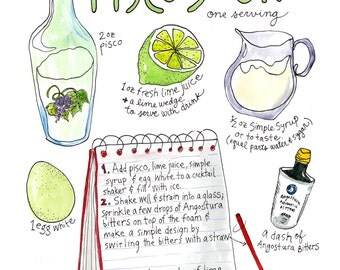 Pisco Sour Recipe Art Watercolor Print