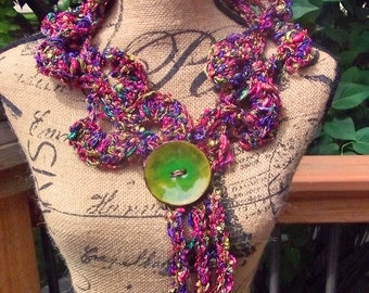 Serena Crocheted Collar Scarf Cowl - Multicolor, purple, green, pink - large button
