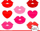 Valentine Clipart Clip Art - Cute Red Pink Hearts Kisses Lips Clip Art - Commercial Use