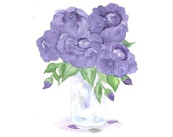 Original Peony Watercolor, Floral Vase Series, Purple Peony Original Watercolor Print, Watercolor, Purple Peony Painting,