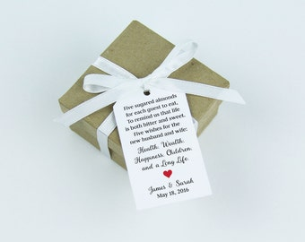 Jordan Almonds Favor Tag - Dragee - Wedding Favor Tag - Almond Wedding Favors - Wedding Favor Labels - Wedding Gifts - MEDIUM