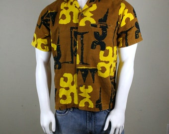 1960s Hawaiian Bark Cloth Tiki Shirt by Richard Douglas Honolulu