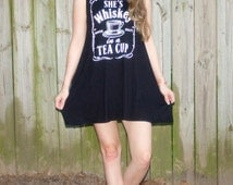 She's Whiskey In A Tea Cup, Graphic Tank Dress, Whiskey Shirt, Graphic Dress, Boho, Bohemian, Hippie