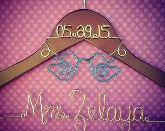 Custom Wedding Hanger with Love Birds
