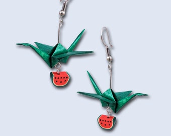 Origami crane earrings with fruits
