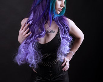 "PennyWigs INDIGO CHARM Half Wig - Long Wavy Purple to Lavender 75cm 29"" Long Deep Pastel Fade Gradual Natural Realistic Ombre Layered"