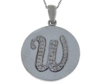 Letter W Pendant .925 Sterling Silver Rhodium Finish