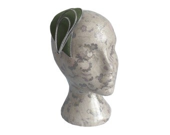 Olive and Silver Zip and Felt Fascinator