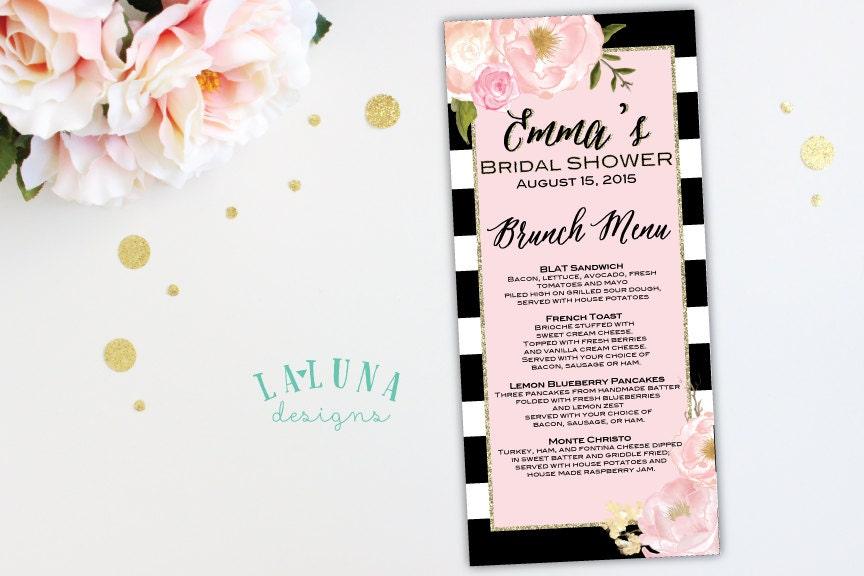 Bridal Shower Menu Floral Black Amp White Stripe Bridal Shower