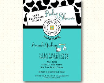 Baby Shower Invitation, Sprinkle, Coed Shower, cow design, turquoise, diaper raffle, book request, thank you card, digital, printable B61251