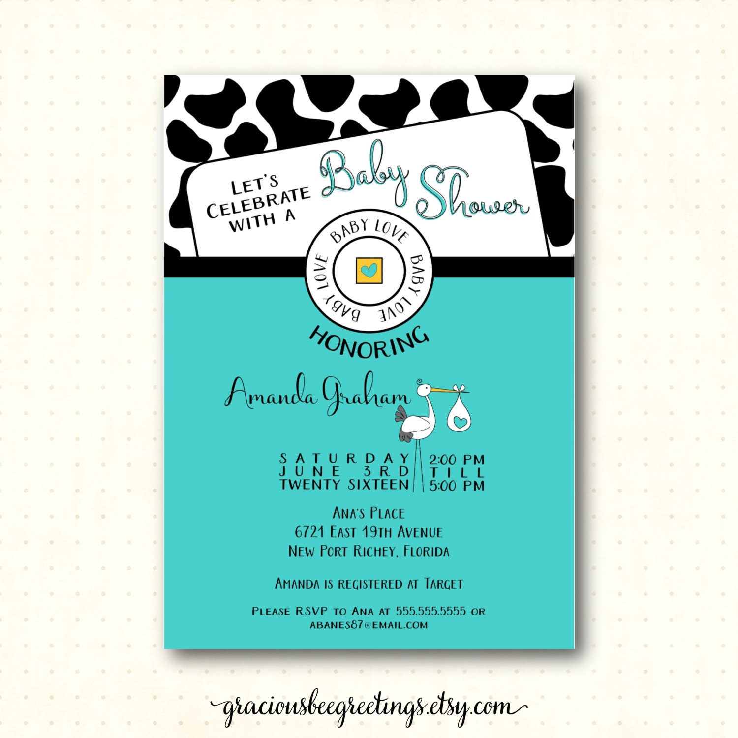 baby shower invitation sprinkle coed shower cow design