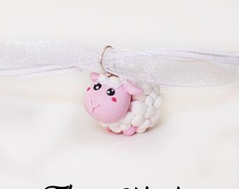 sheep necklace - polymer clay - handmade - handmade