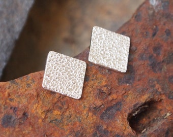 Diamond Stud Earrings, sterling silver studs, sparkly textured diamond shape, unisex stud earrings in stock, handmade by arc jewellery uk