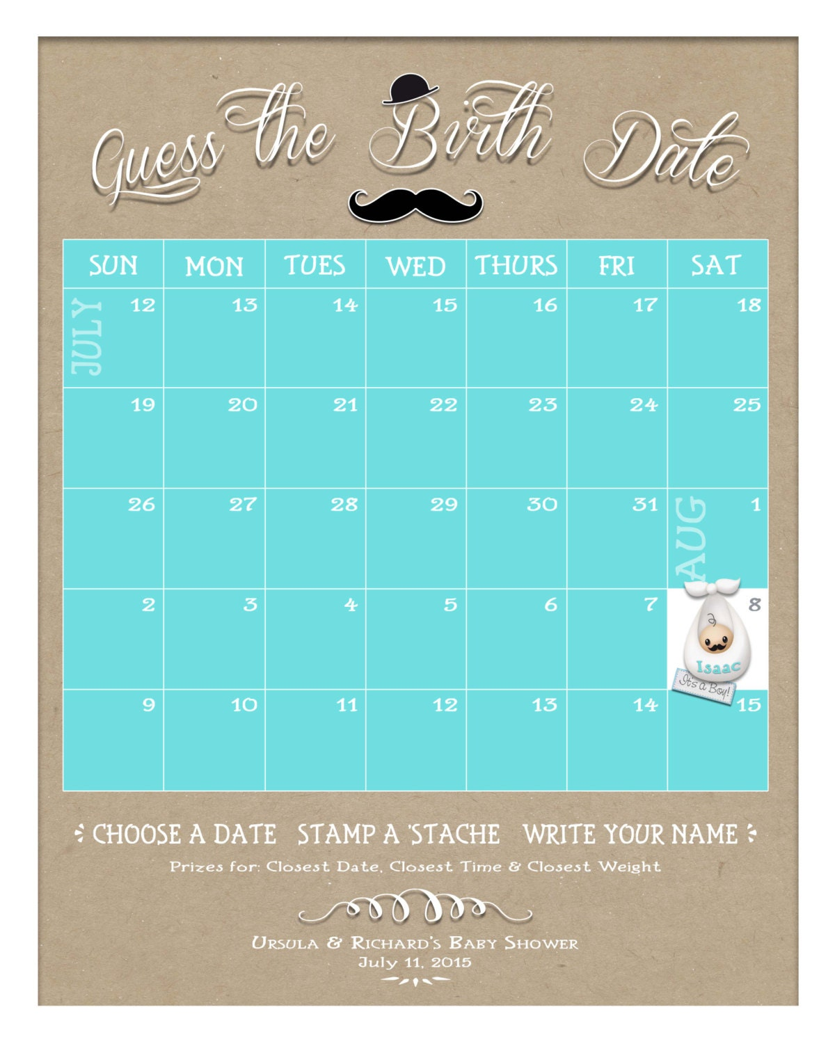 Guess The Birth Date Baby Shower Game